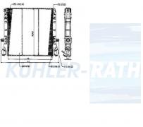 Wasserkühler passend für Scania (10570458 0310082 334842 0337842 0570444 1321887 730637)