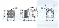 Claas/Renault/Sanden Kompressor (3503470 6025107881 7700734103 7700856259 7700857170 7701499840 SD7H